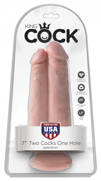 King Cock 7in. Two Cocks Flesh